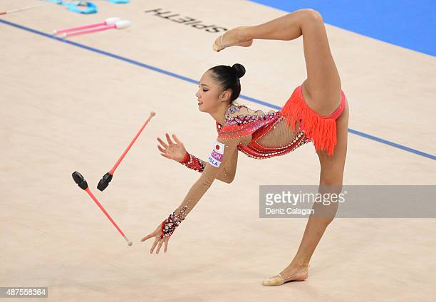 Sakura Hayakawa of Japan competes during the 34th Rhythmic Gymastics World Championships on September 10 2015 in Stuttgart Germany