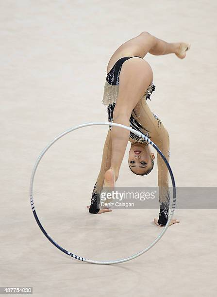 Sakura Hayakawa of Japan competes with hoop during the 34th Rhythmic Gymnastics World Championships 2015 on September 11 2015 in Stuttgart Germany
