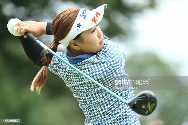 Sakura Kito of Japan hits her tee shot on the first hole during the first round of the Munsingwear Ladies Tokai Classic at the Shin Minami Aichi...