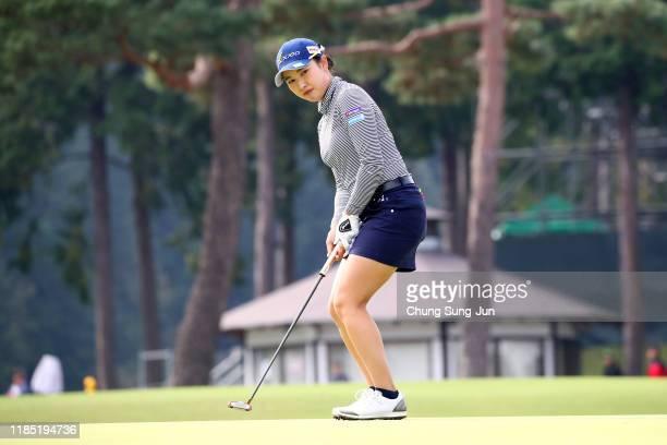 Sakura Koiwai of Japan attempts a putt on the 9th green during the final round of the Hisako Higuchi Mitsubishi Electric Ladies at Musashigaoka Golf...