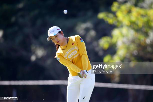 Sakura Koiwai of Japan chips onto the 2nd green during the third round of the LPGA Tour Championship Ricoh Cup at Miyazaki Country Club on November...