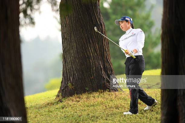 Sakura Koiwai of Japan hits her second shot on the 12th hole during the second round of Fujitsu Ladies at Tokyu Seven Hundred Club on October 19 2019...