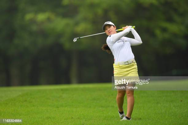 Sakura Koiwai of Japan hits her second shot on the 7th hole during the final round of the Thamansa Thavasa Girls Collection Ladies Tournament at the...