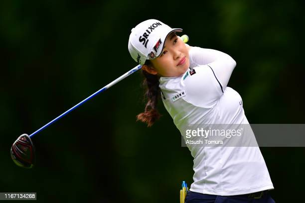 Sakura Koiwai of Japan hits her tee shot on the 12th hole during the second round of the Hokkaido meiji Cup at Sapporo International Country Club on...