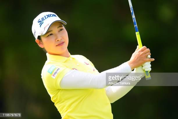 Sakura Koiwai of Japan hits her tee shot on the 13th hole during the second round of the Ai Miyazato Suntory Ladies Open Golf Tournament at Rokko...