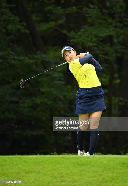 Sakura Koiwai of Japan hits her tee shot on the 14th hole during the final round of the Earth Mondamin Cup at the Camellia Hills Country Club on June...