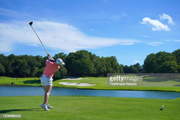 Sakura Koiwai of Japan hits her tee shot on the 17th hole during first round of the GMO Internet Ladies Samantha Thavasa Global Cup at Eagle Point...
