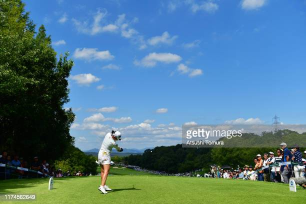 Sakura Koiwai of Japan hits her tee shot on the 18th hole during the third round of the 52nd LPGA Championship Konica Minolta Cup at the Cherry Hills...