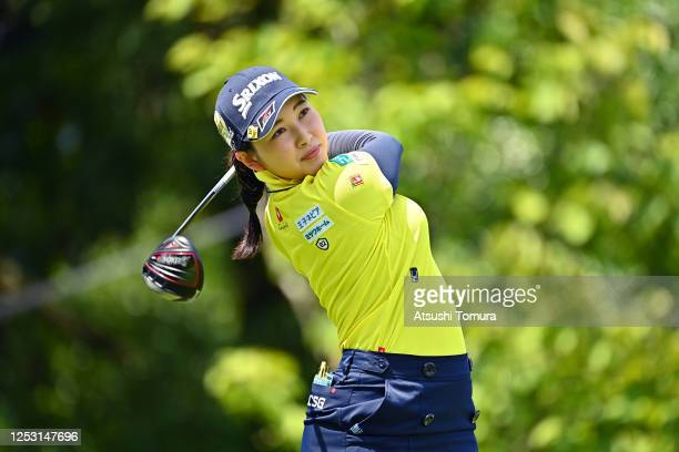 Sakura Koiwai of Japan hits her tee shot on the 1st hole during the final round of the Earth Mondamin Cup at the Camellia Hills Country Club on June...