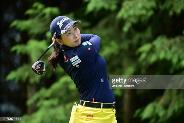 Sakura Koiwai of Japan hits her tee shot on the 2nd hole during the final round of the GOLF5 Ladies Tournament at the GOLF5 Country Mizunami Course...