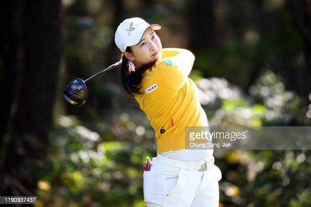 Sakura Koiwai of Japan hits her tee shot on the 4th hole during the third round of the LPGA Tour Championship Ricoh Cup at Miyazaki Country Club on...