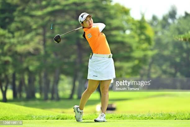 Sakura Koiwai of Japan hits her tee shot on the 4th hole during the first round of the NEC Karuizawa 72 Golf Tournament at the Karuizawa 72 Golf Kita...