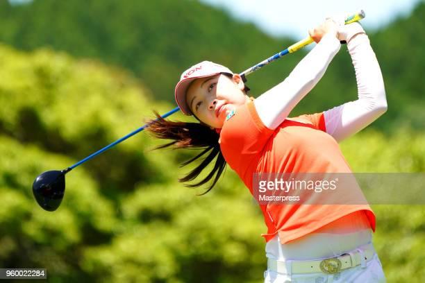 Sakura Koiwai of Japan hits her tee shot on the 9th hole during the second round of the Chukyo TV Bridgestone Ladies Open at Chukyo Golf Club Ishino...