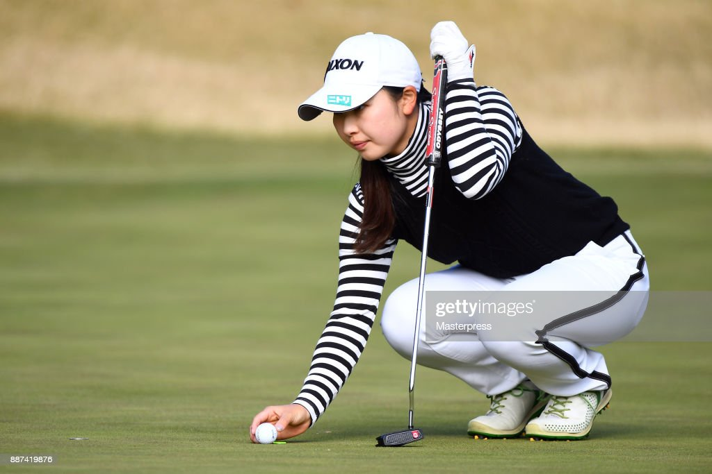 Sakura Koiwai of Japan lines up during the first round of the LPGA Rookie Tournament at Great Island Club on December 7, 2017 in Chonan, Chiba, Japan.