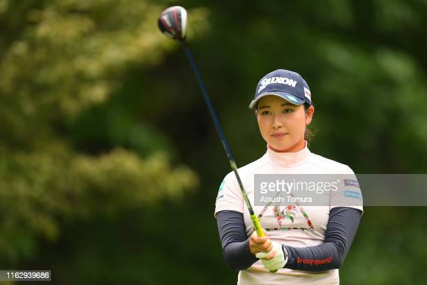 Sakura Koiwai of Japan lines up her tee shot on the 4th hole during the first round of the Thamansa Thavasa Girls Collection Ladies Tournament at the...
