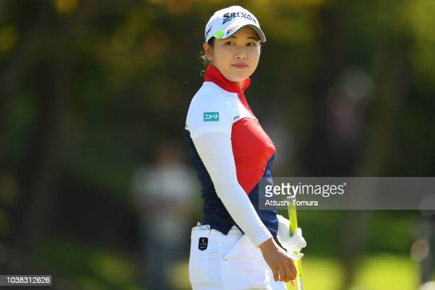 Sakura Koiwai of Japan looks on during the final round of the Miyagi TV Cup Dunlop Ladies Open at Rifu Golf Club on September 23 2018 in Rifu Miyagi...