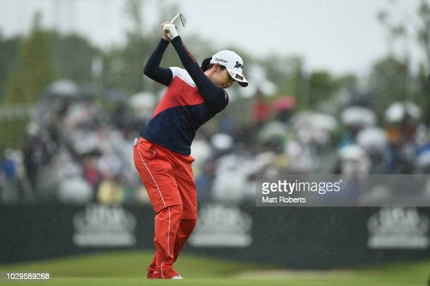 Sakura Koiwai of Japan plays her approach shot on the 18th hole during the final round of the 2018 LPGA Championship Konica Minolta Cup at Kosugi...