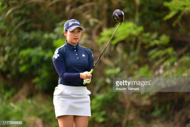 Sakura Koiwai of Japan prepares for her tee shot on the 2nd hole during the second round of the Miyagi TV Cup Dunlop Women's Open at Rufu Golf Club...