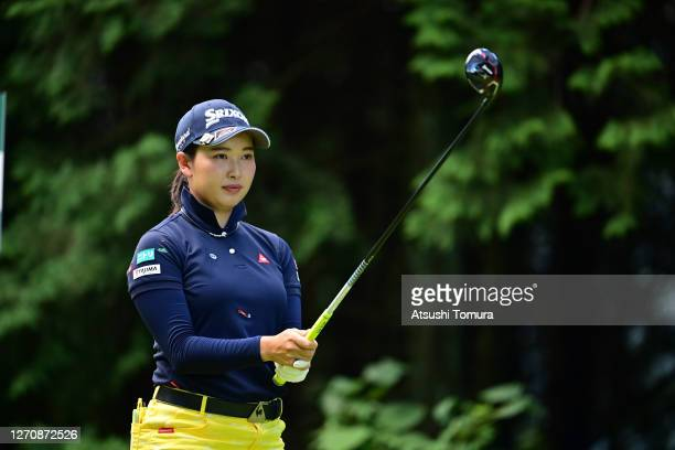 Sakura Koiwai of Japan prepares for her tee shot on the 2nd hole during the final round of the GOLF5 Ladies Tournament at the GOLF5 Country Mizunami...