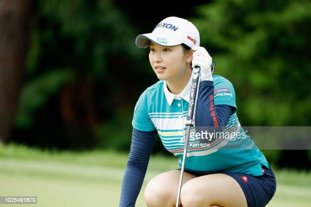 Sakura Koiwai of Japan prepares to putt on the first hole during the first round of the Golf5 Ladies at Mizunami Country Club on August 31 2018 in...