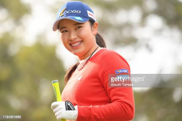 Sakura Koiwai of Japan smiles during the Hitachi 3 Tours at Glissando Golf Club on December 15 2019 in Narita Chiba Japan