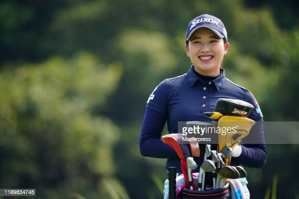 Sakura Koiwai of Japan smiles on the 12th tee during the second round of the CAT Ladies 2019 at Daihakone Country Club on August 24 2019 in Hakone...