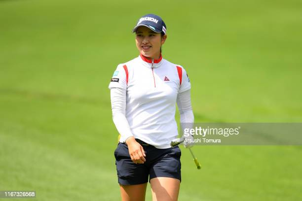 Sakura Koiwai of Japan smiles on the 16th hole during the final round of the Hokkaido meiji Cup at Sapporo International Country Club on August 11...
