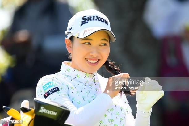 Sakura Koiwai of Japan smiles on the 2nd tee during the final round of the 52nd LPGA Championship Konica Minolta Cup at the Cherry Hills Golf Club on...