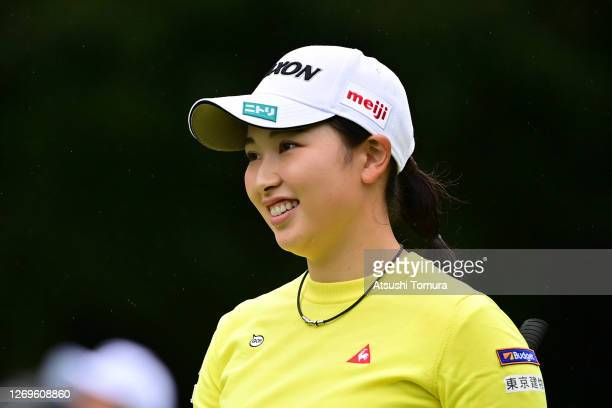 Sakura Koiwai of Japan smiles on the 3rd hole during the final round of the Nitori Ladies Golf Tournament at the Otaru Country Club on August 30 2020...