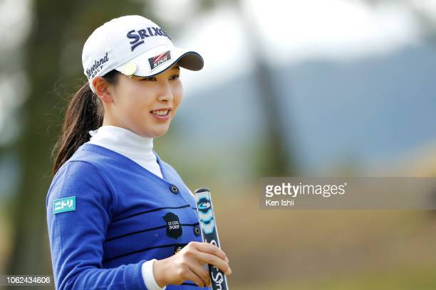 Sakura Koiwai of Japan smiles on the fifteenth hole during the first round of the TOTO Japan Classic at Seta Golf Course on November 02 2018 in Otsu...