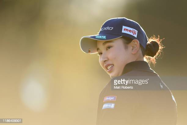 Sakura Koiwai of Japan smiles on the practice green prior to the second round of the TOTO Japan Classic at Seta Golf Course North Course on November...