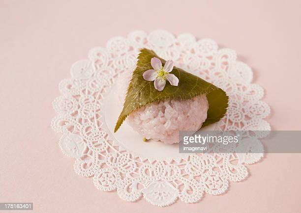 Sakura mochi (cherry flavored soft sweet rice cake)