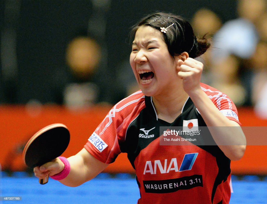 Sakura Mori of Japan celebrates a point during the game against Prachi Jha of the United States during day two of the 2014 World Team Table Tennis Championships at Yoyogi National Gymnasium on April 29, 2014 in Tokyo, Japan.