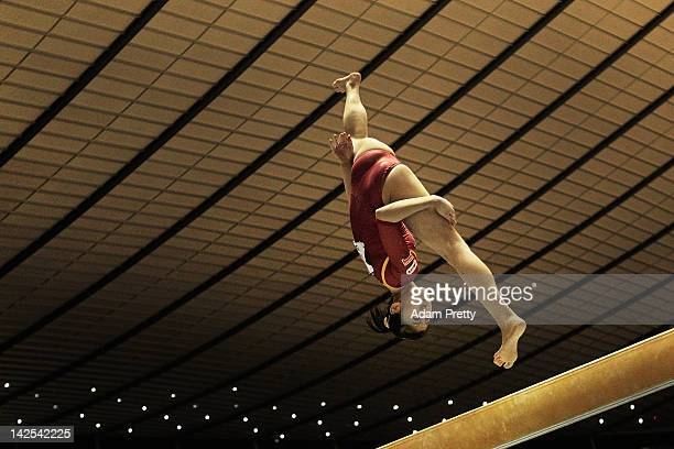 Sakura Noda of Japan competes on the Balance Beam during day one of the 66th All Japan Artistic Gymnastics All Around Championships at Yoyogi...
