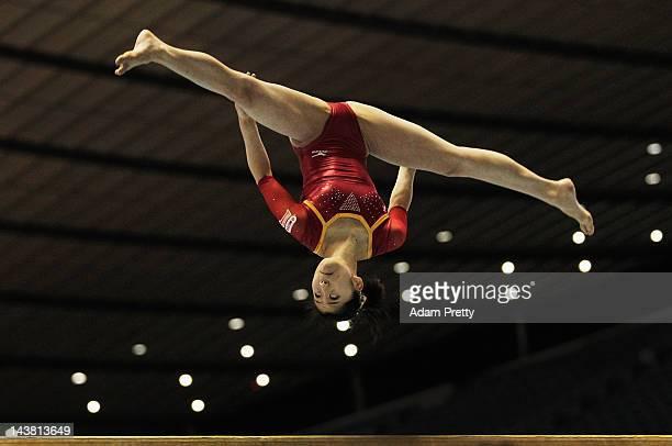Sakura Noda of Japan performs her balance beam routine during day one of the 51st Artistic Gymnastics NHK Trophy at Yoyogi National Gymnasium on May...