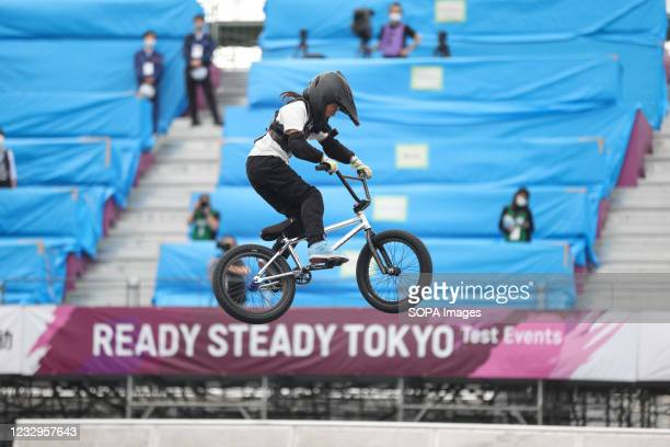 Sakura Sugio in action during her second heat ride at the Ready Steady Tokyo BMX Freestyle Test Event in Ariake Urban Sports Park.