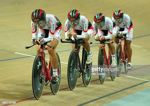 Sakura Tsukagoshi Minami Uwano Kanako Kase and Yoko Kojima of Japan compete in the Women's Team Pursuit qualifying round during day one of the UCI...
