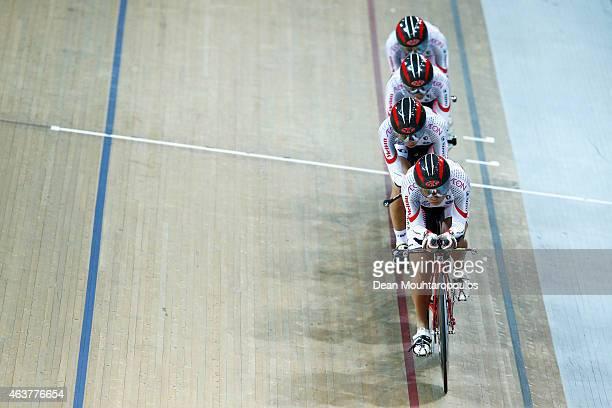 Sakura Tsukagoshi Minami Uwano Kanako Kase and Yoko Kojima of Japan Cycling team compete in the Womens Team Pursuit Qualifying round during day 1 of...