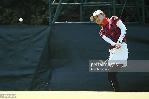 Sakura Yokomine of Japan chips onto the 14th green during the final round of the Munsingwear Ladies Tokai Classic at the Shin Minami Aichi Country...