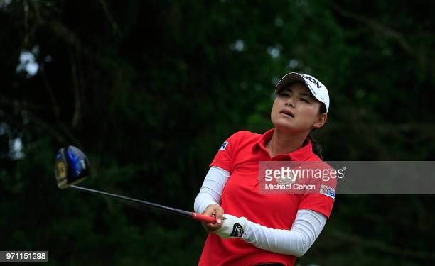 Sakura Yokomine of Japan hits her drive on the 18th hole during the third and final round of the ShopRite LPGA Classic Presented by Acer on the Bay...
