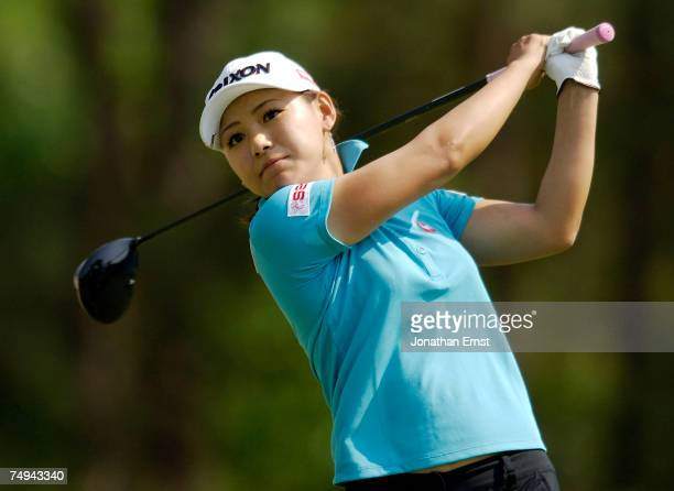 Sakura Yokomine of Japan hits her drive on the seventh tee during round one of the US Women's Open Championship at Pine Needles Lodge Golf Club June...
