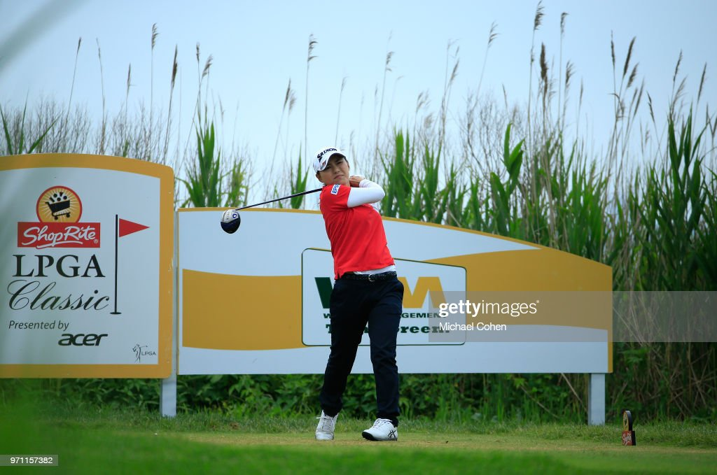 Sakura Yokomine of Japan hits her drive on the third hole during the third and final round of the ShopRite LPGA Classic Presented by Acer on the Bay Course at Stockton Seaview Hotel and Golf Club on June 10, 2018 in Galloway, New Jersey.