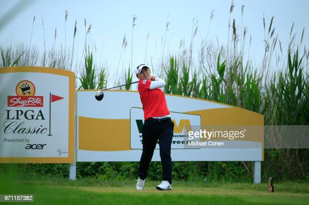 Sakura Yokomine of Japan hits her drive on the third hole during the third and final round of the ShopRite LPGA Classic Presented by Acer on the Bay...