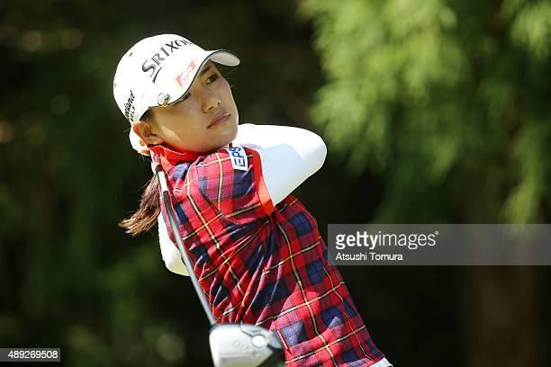 Sakura Yokomine of Japan hits her tee shot on the 13th hole during the final round of the Munsingwear Ladies Tokai Classic at the Shin Minami Aichi...