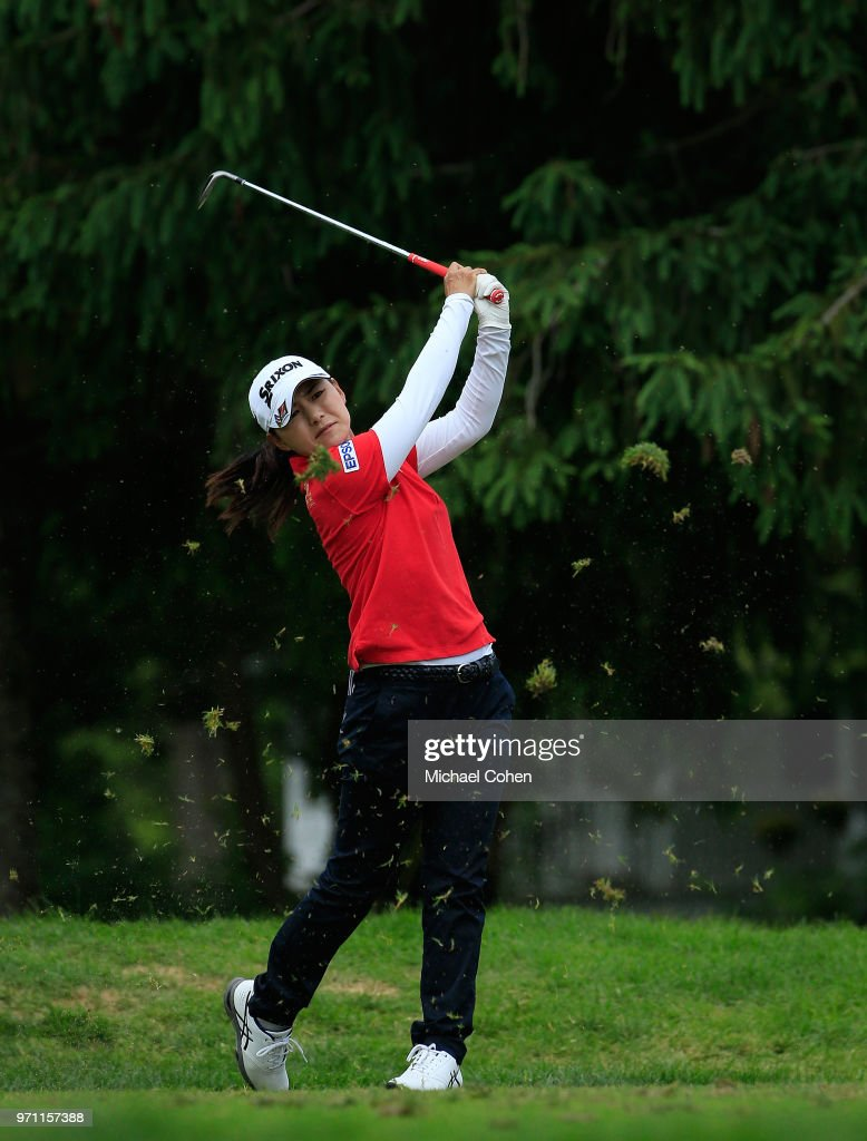 Sakura Yokomine of Japan hits her tee shot on the 17th hole during the third and final round of the ShopRite LPGA Classic Presented by Acer on the Bay Course at Stockton Seaview Hotel and Golf Club on June 10, 2018 in Galloway, New Jersey.