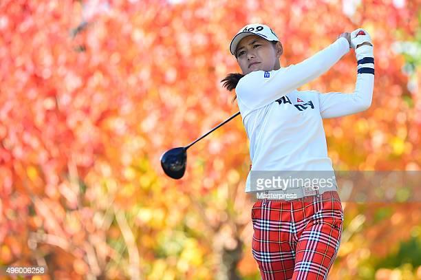 Sakura Yokomine of Japan hits her tee shot on the 2nd hole during the first round of the TOTO Japan Classics 2015 at the Kintetsu Kashikojima Country...