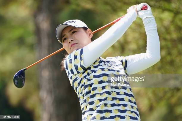 Sakura Yokomine of Japan hits her tee shot on the 3rd hole during the second round of the Hoken No Madoguchi Ladies at the Fukuoka Country Club on...