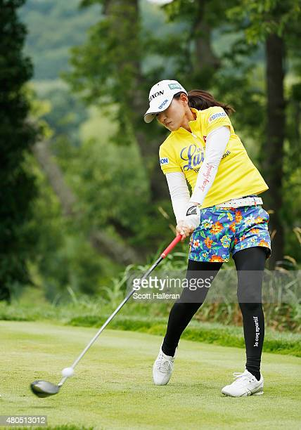 Sakura Yokomine of Japan hits her tee shot on the second hole during the final round of the U.S. Women's Open at Lancaster Country Club on July 12,...