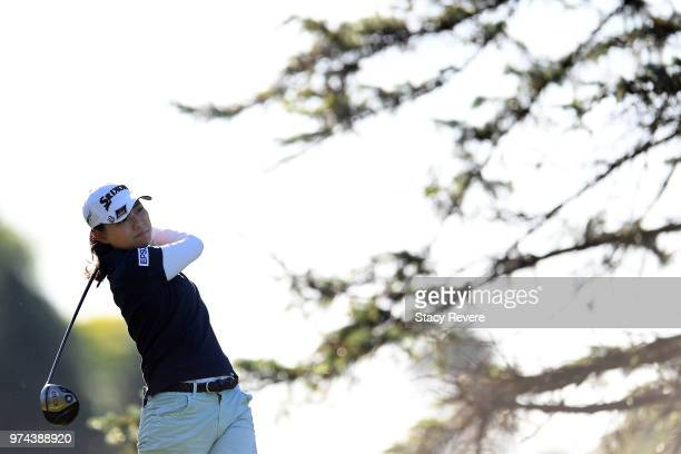 Sakura Yokomine of Japan hits her tee shot on the third hole during the first round of the Meijer LPGA Classic for Simply Give at Blythefield Country...