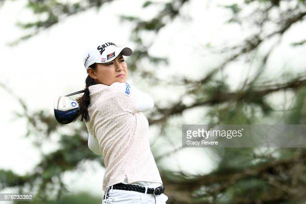 Sakura Yokomine of Japan hits her tee shot on the third hole during the third round of the Meijer LPGA Classic for Simply Give at Blythefield Country...